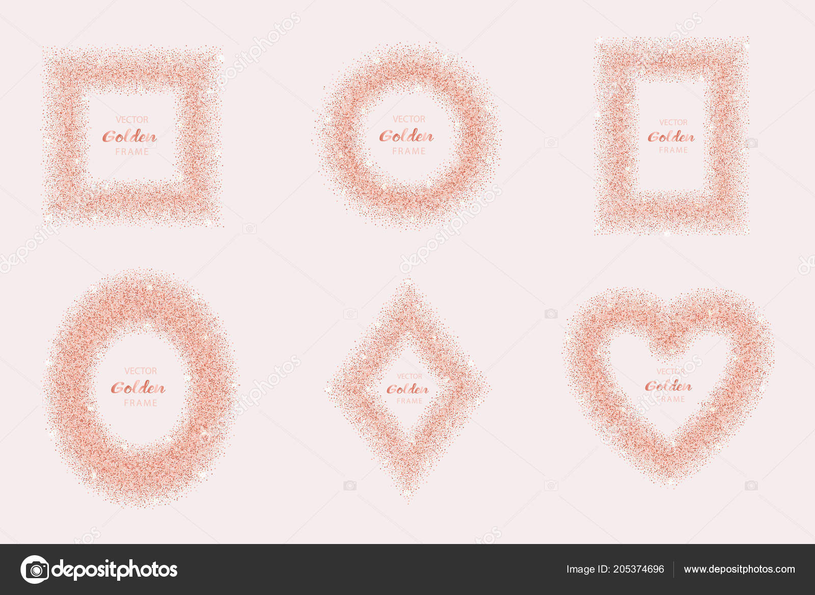 Luxury Pink Gold Glitter Frame Set Stock Vector Kronalux 205374696