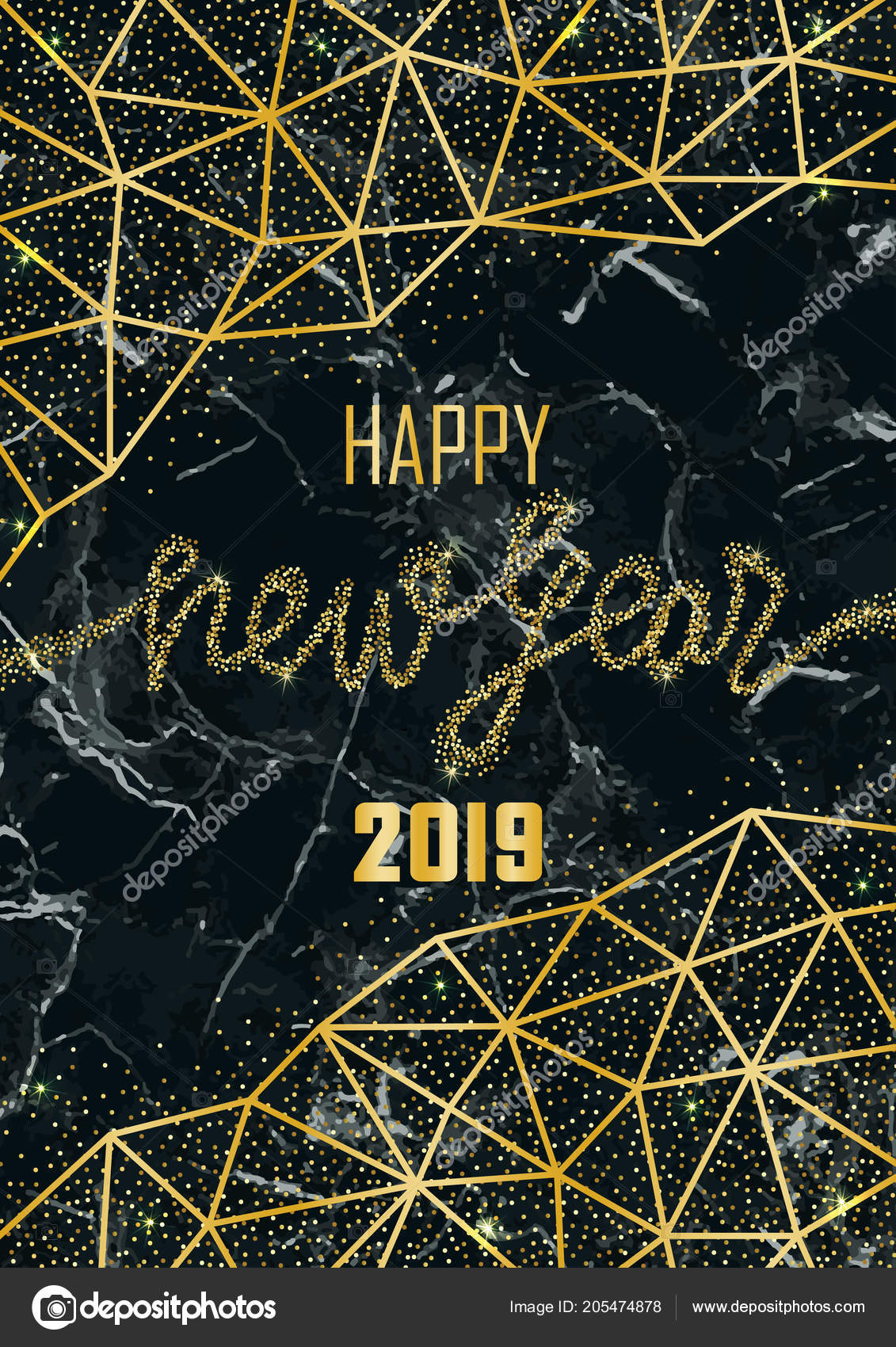e65a25f0e58d Luxury golden Happy New Year 2019 on black marble background. Gold glitter  congratulation frame with geometric lines. A4 Template with lettering for  ...