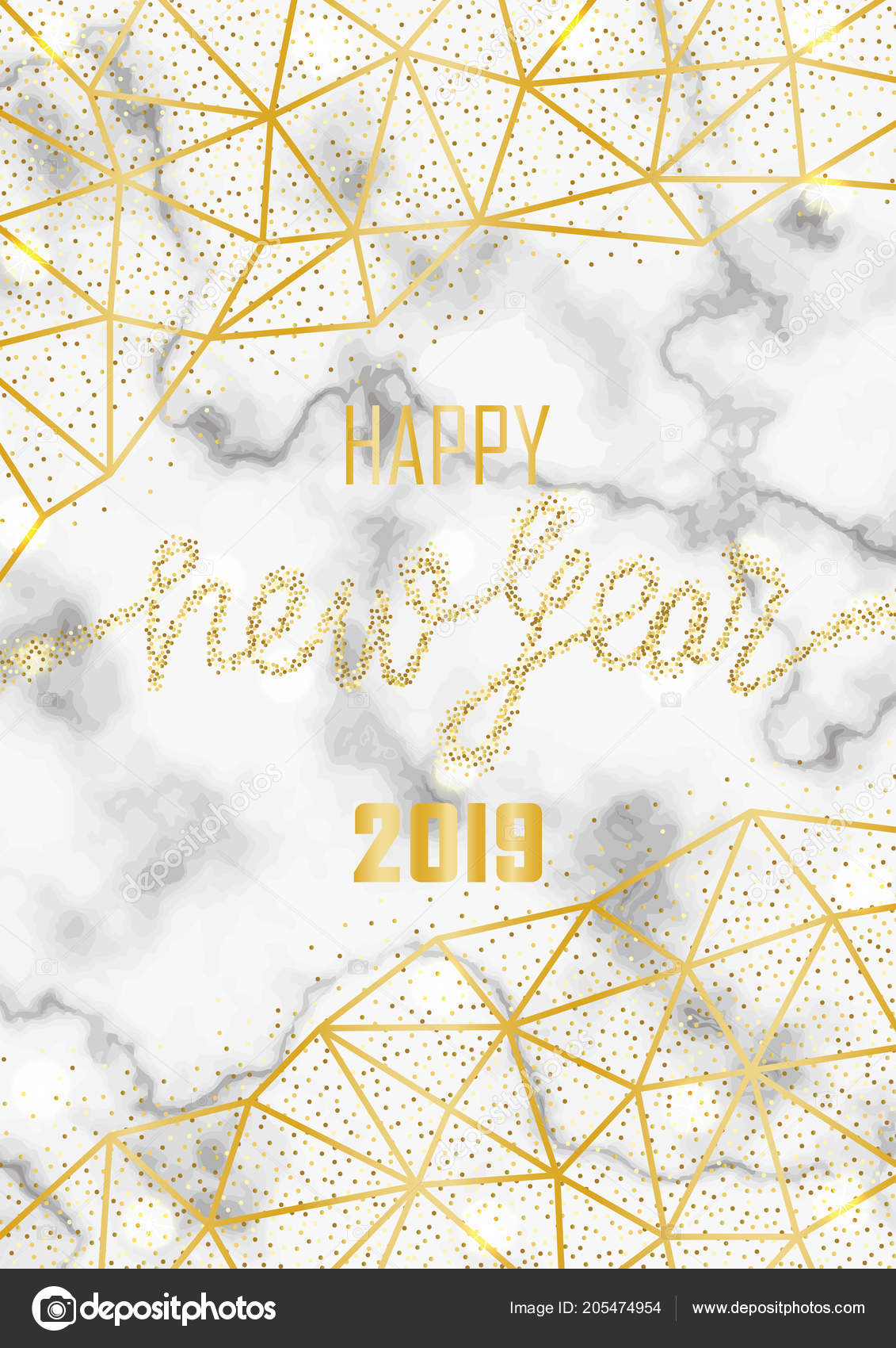 luxury golden glitter happy new year 2019 stock vector