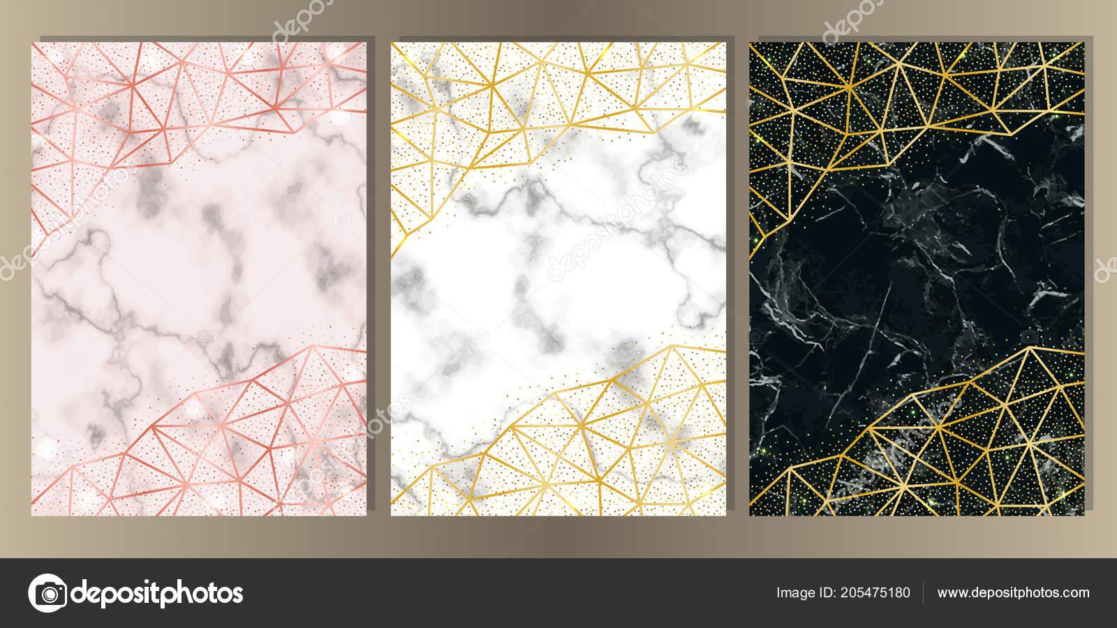 Luxury Set Pink White Black Marble Background Gold Glitter Frames