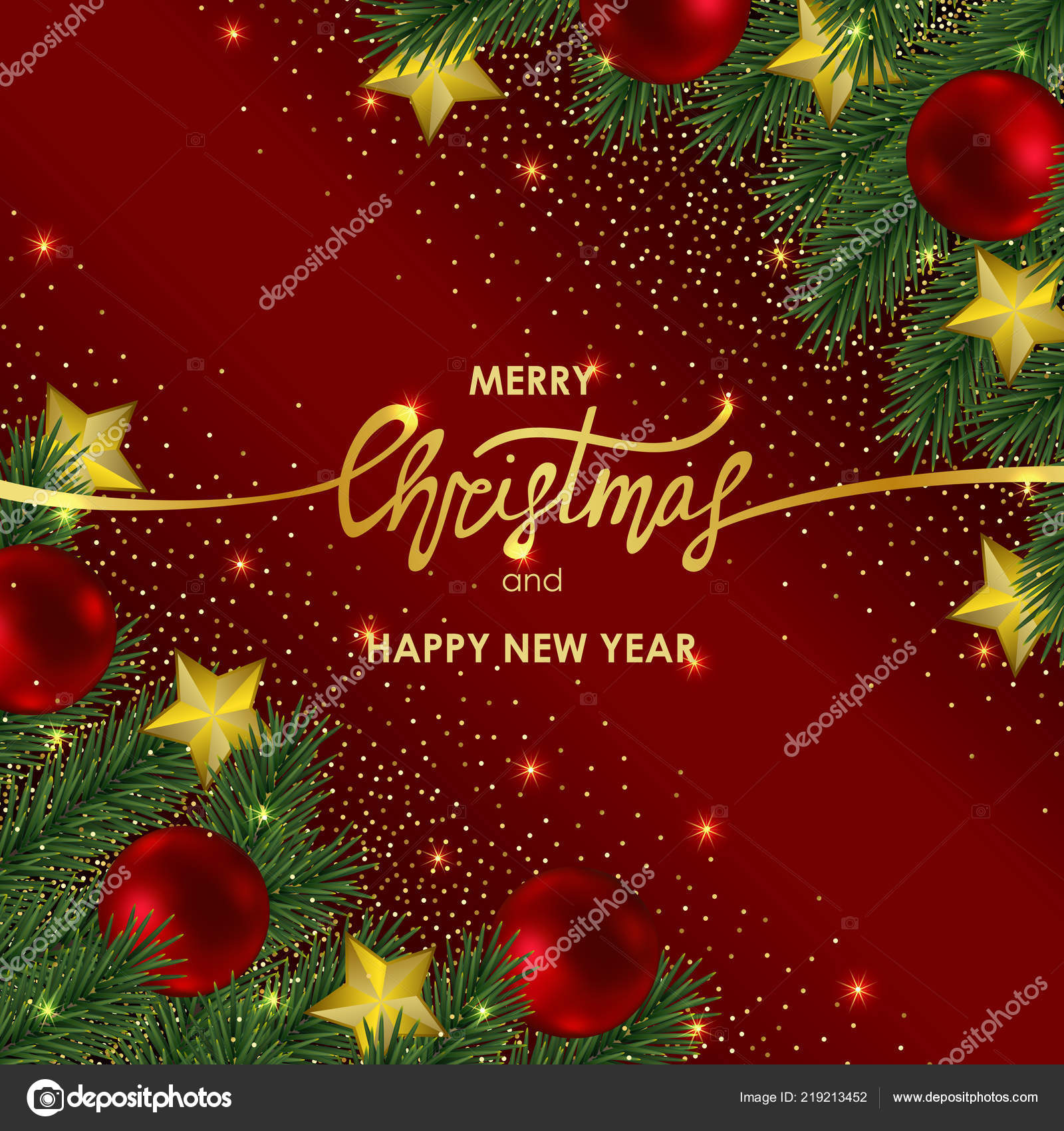 christmas and new year invitation card with gold lettering stock vector