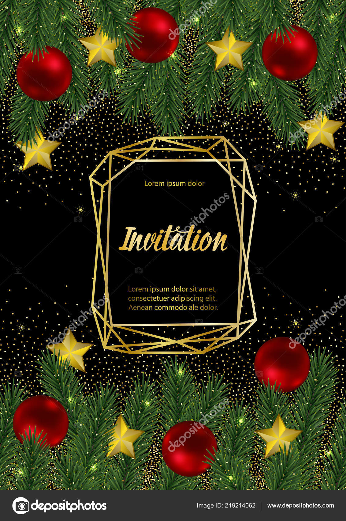 merry christmas and happy new year invitation card with gold geometric frame on black background template with fir tree template for greeting