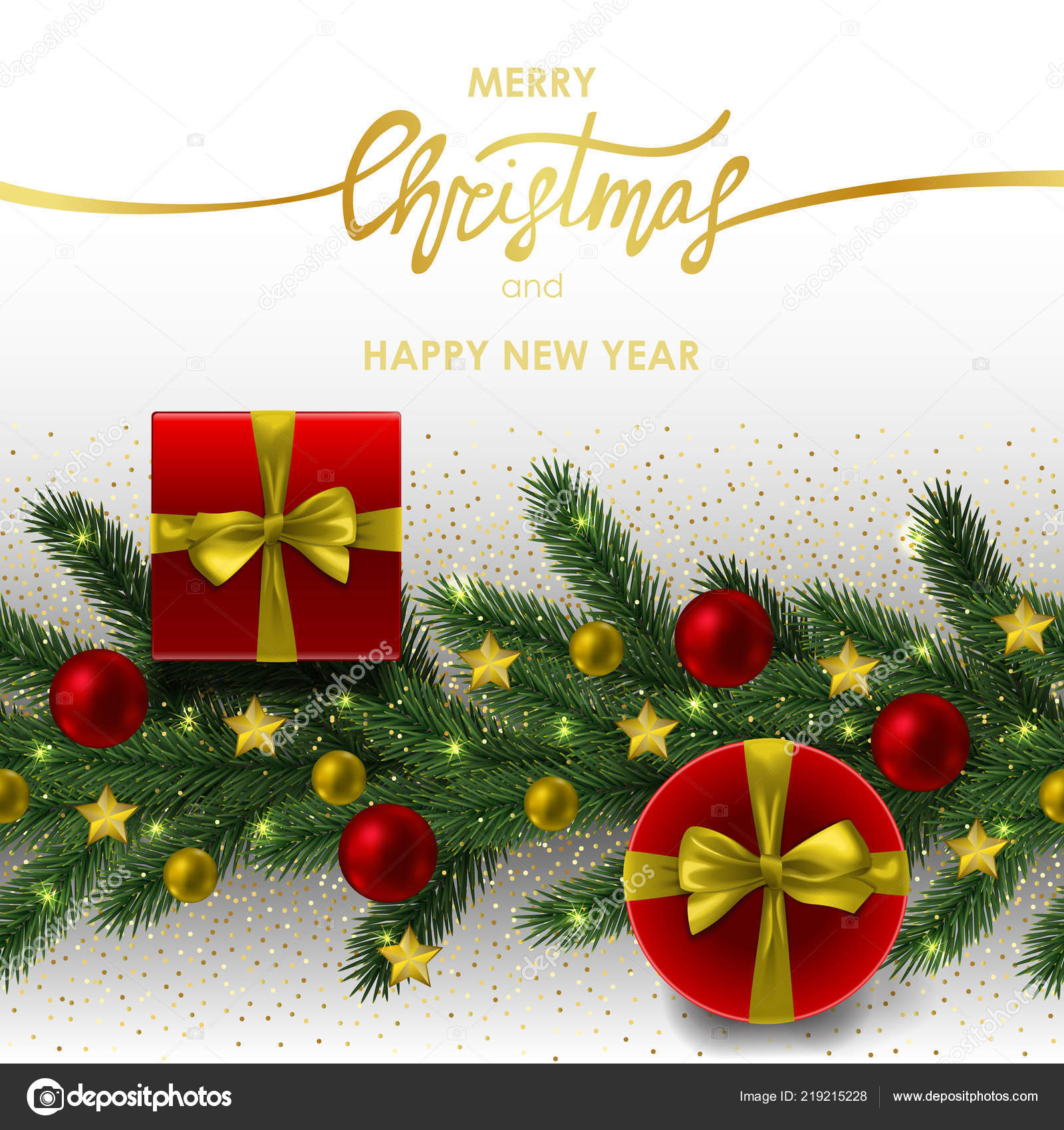 merry christmas and happy new year invitation card with gold geometric frame on white background template with fir tree template for greeting
