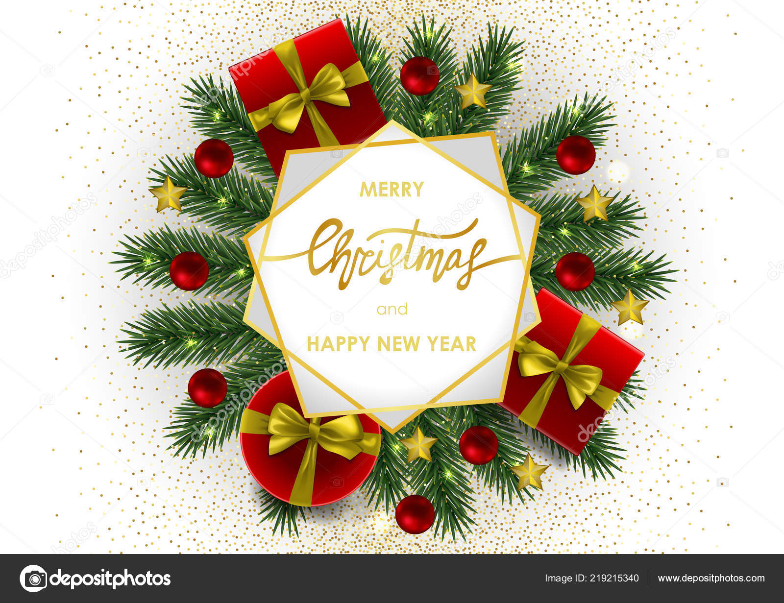 merry christmas and happy new year invitation card with gold geometric frame on white background a4 template with fir tree template for greeting winter