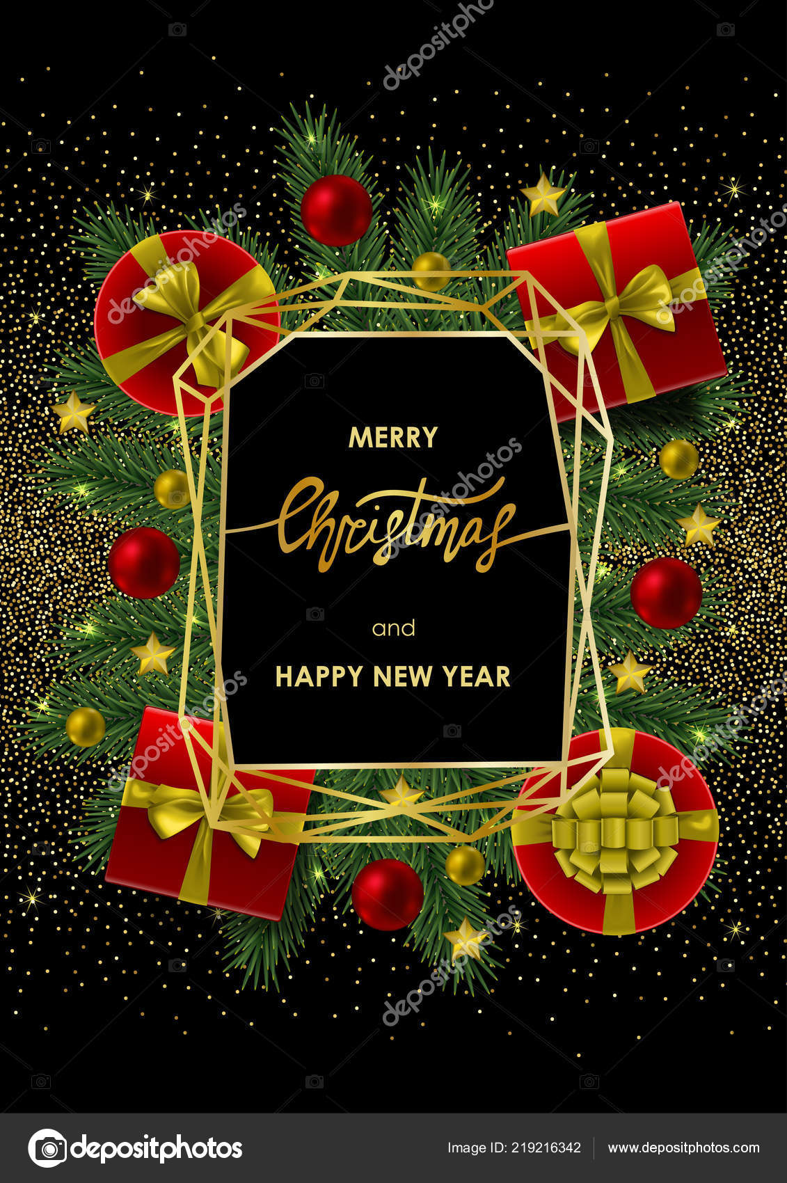merry christmas and happy new year invitation card with gold geometric frame on black background a4 template with fir tree template for greeting winter