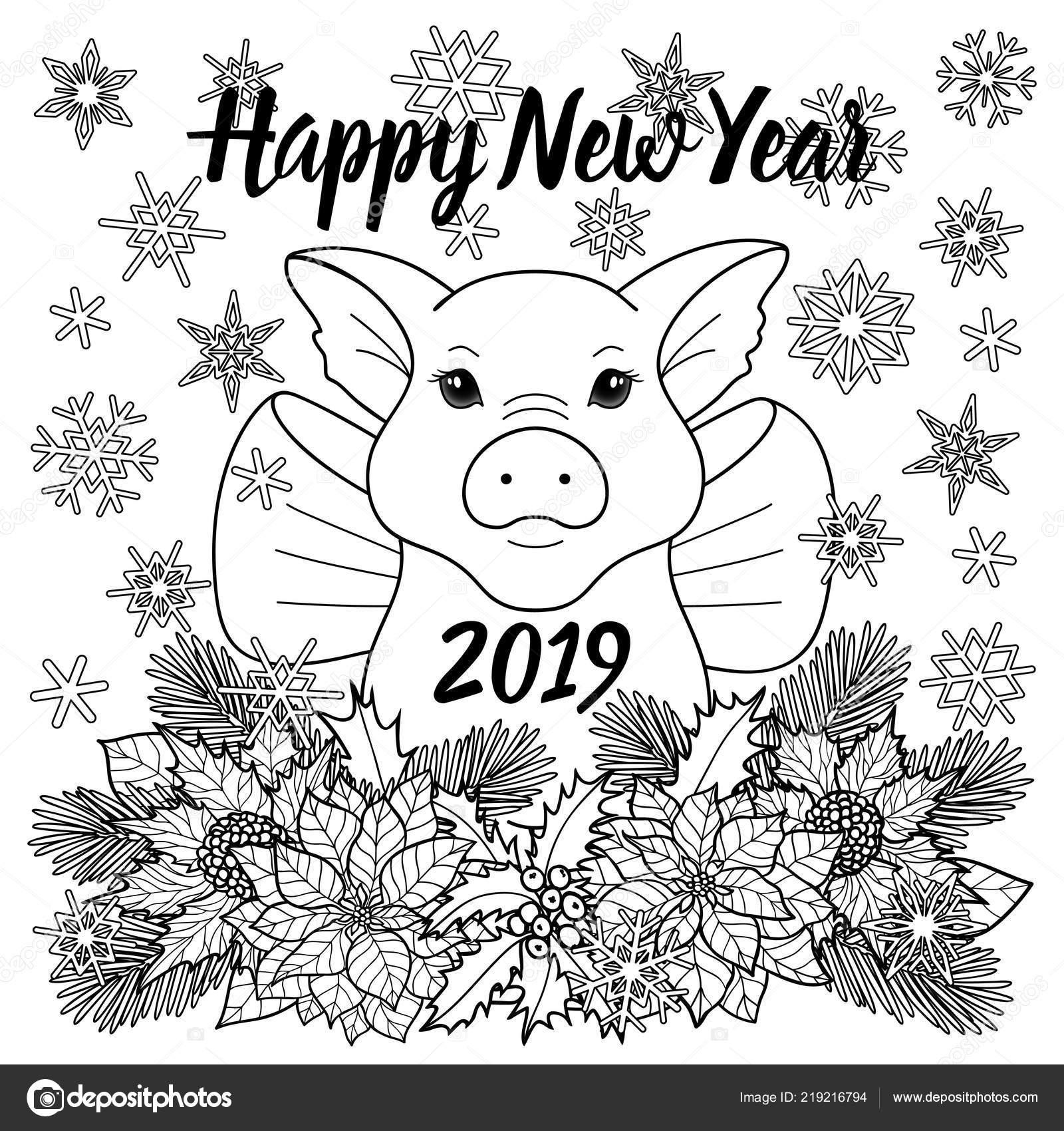 Mutlu Yeni Yıl 2019 Tebrik Kartı Ile Domuz Stok Vektör Kronalux