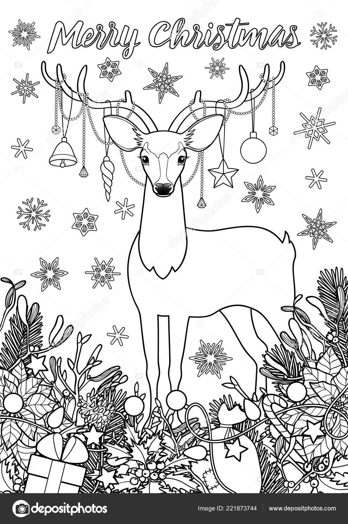 Página Para Colorear De Feliz Navidad Felicitación Con Ciervos
