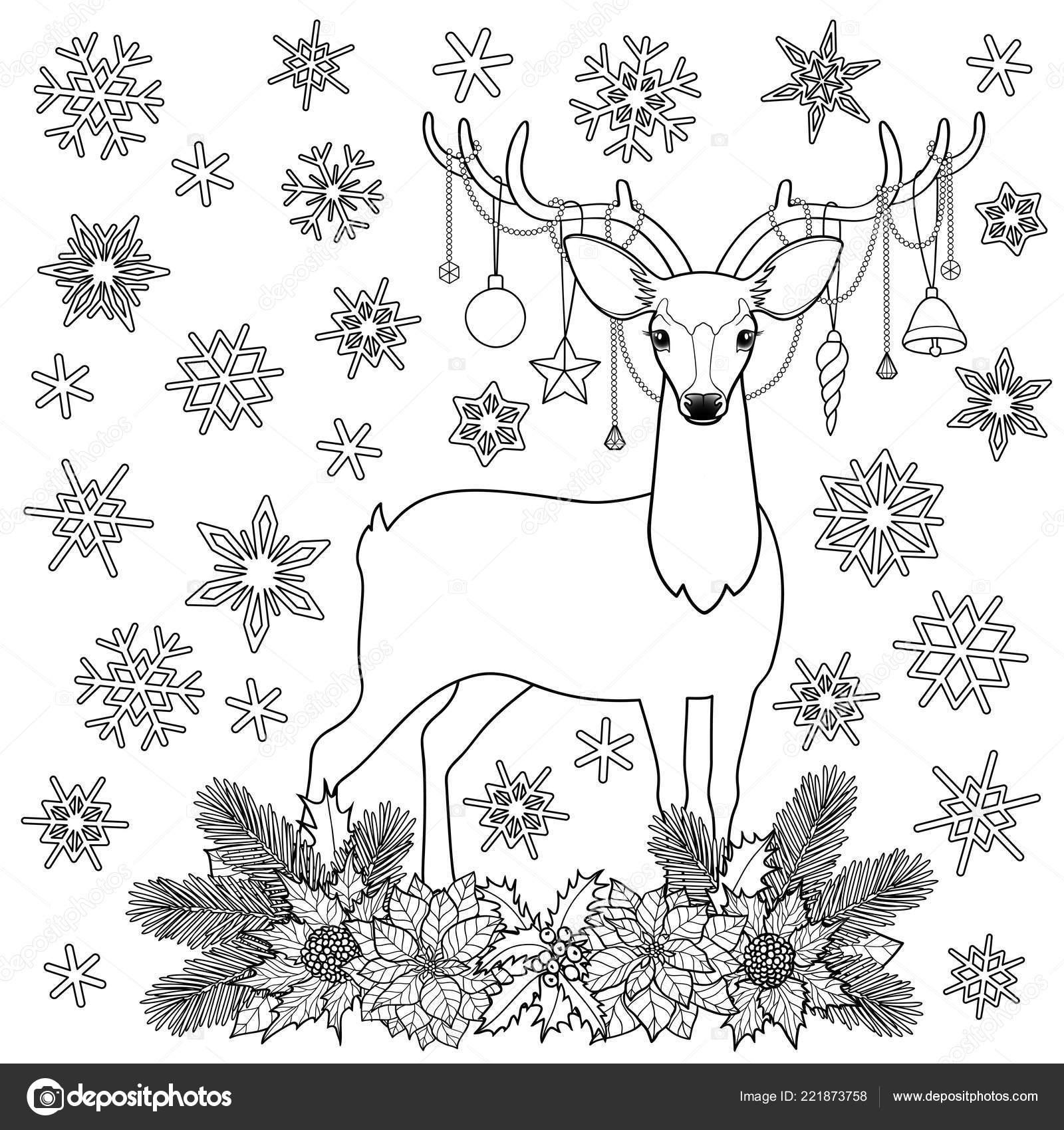 Noel Geyiği Kış Tatili Anahat Boyama Sayfası Stok Vektör