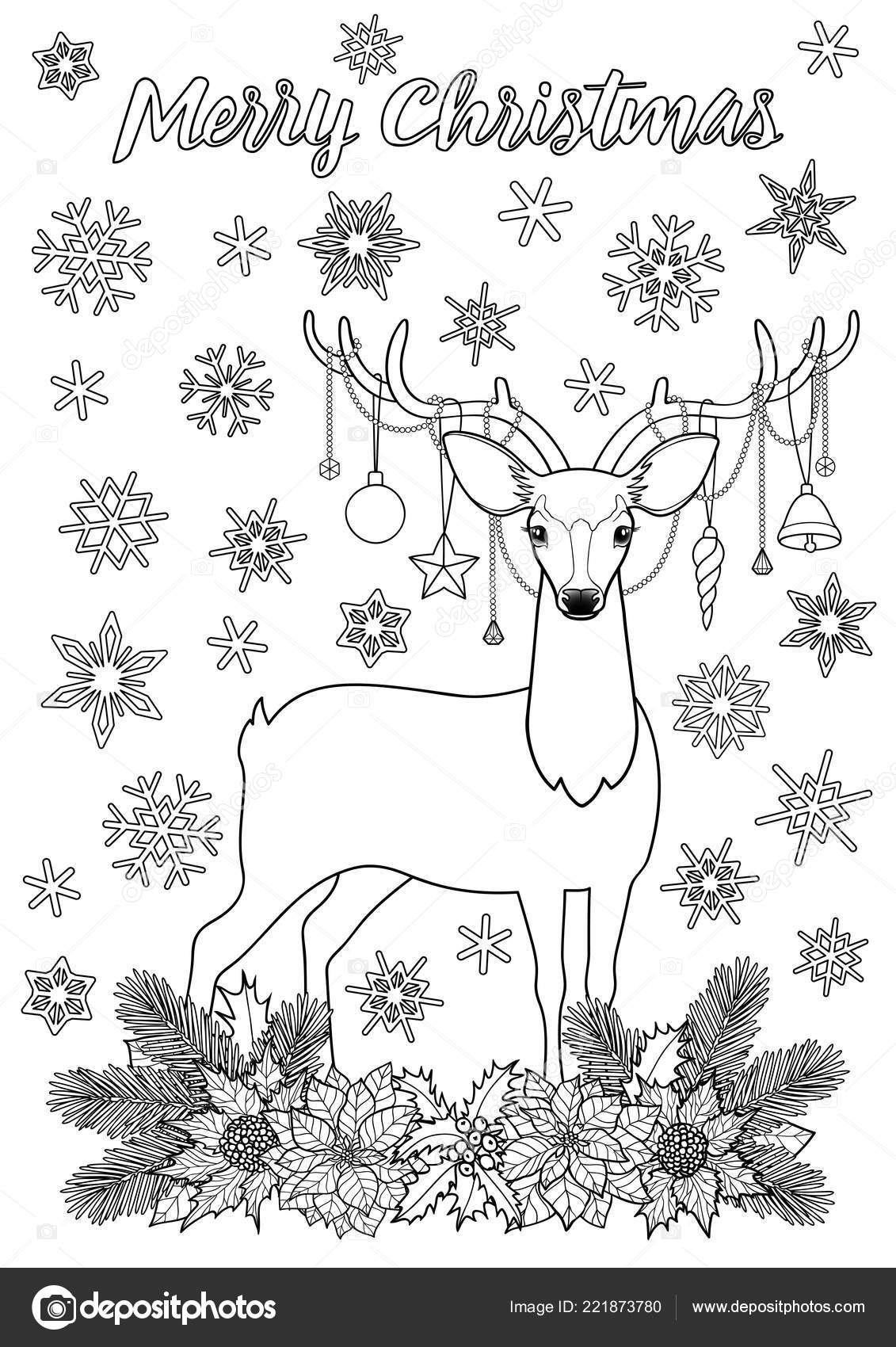 Merry Christmas Greeting Coloring Page with Deer — Stock Vector ...