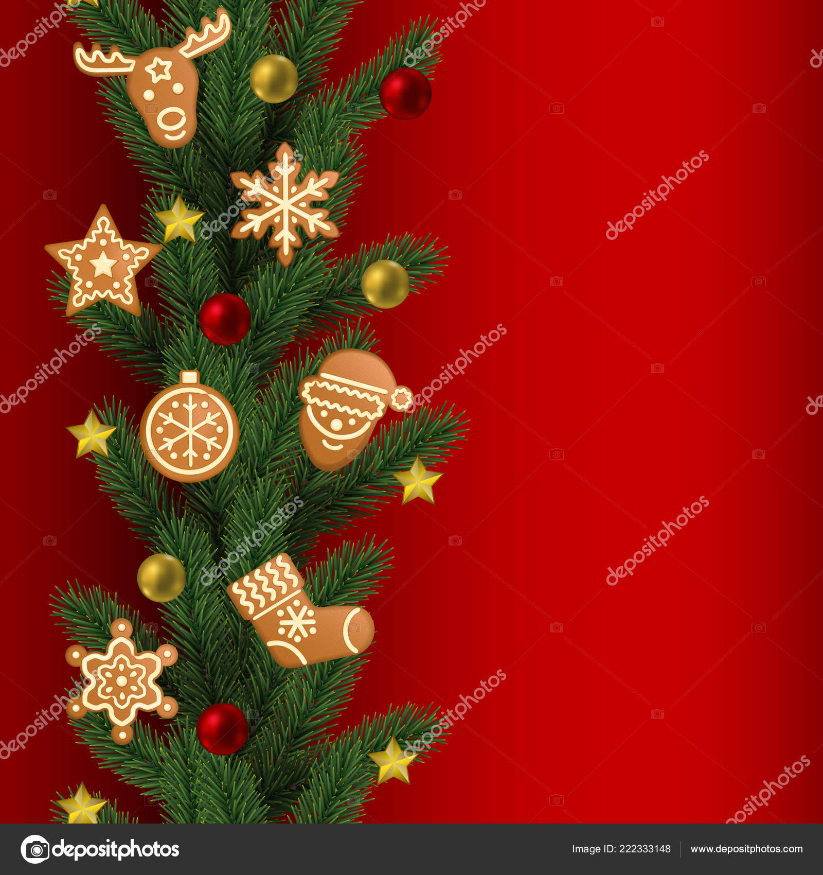 christmas and new year seamless border with gingerbread and toys on red background repeat winter holiday pattern for textile prints wallpaper