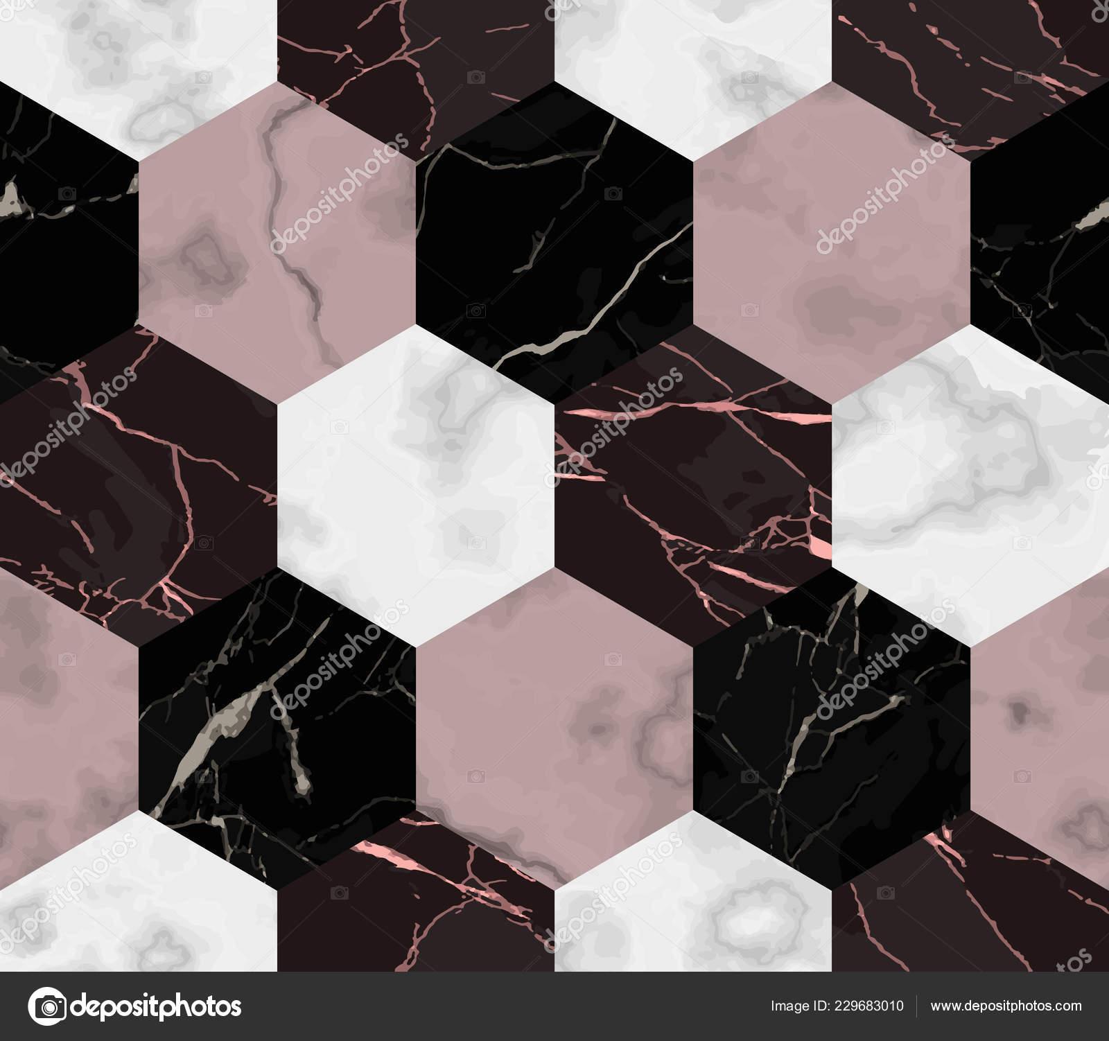 Vector Reticolo Senza Giunte Marmo Bianco Rosa Nero Esagono Ripetere