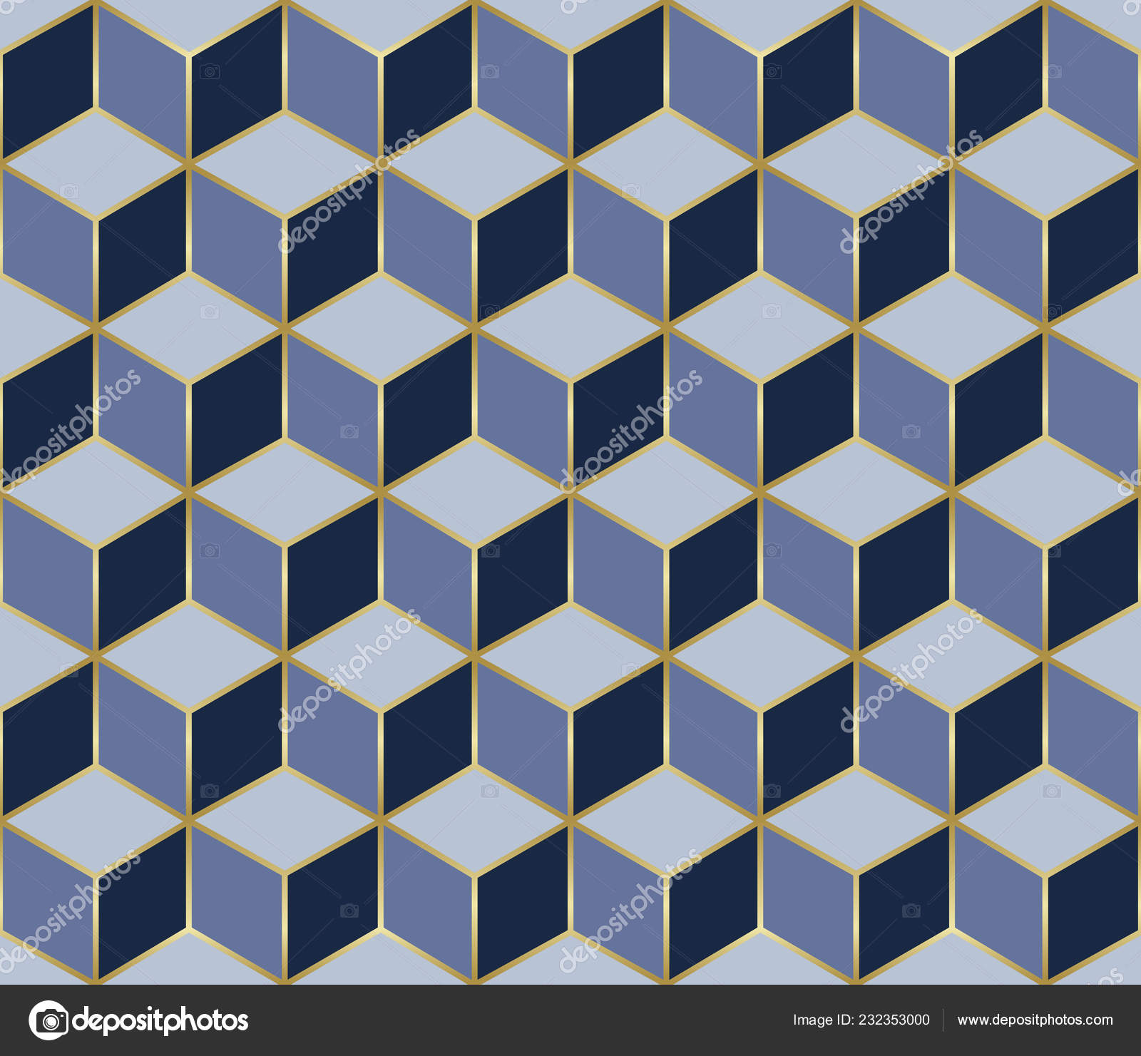 Mosaic Seamless Pattern Cube Effect Gold Geometric