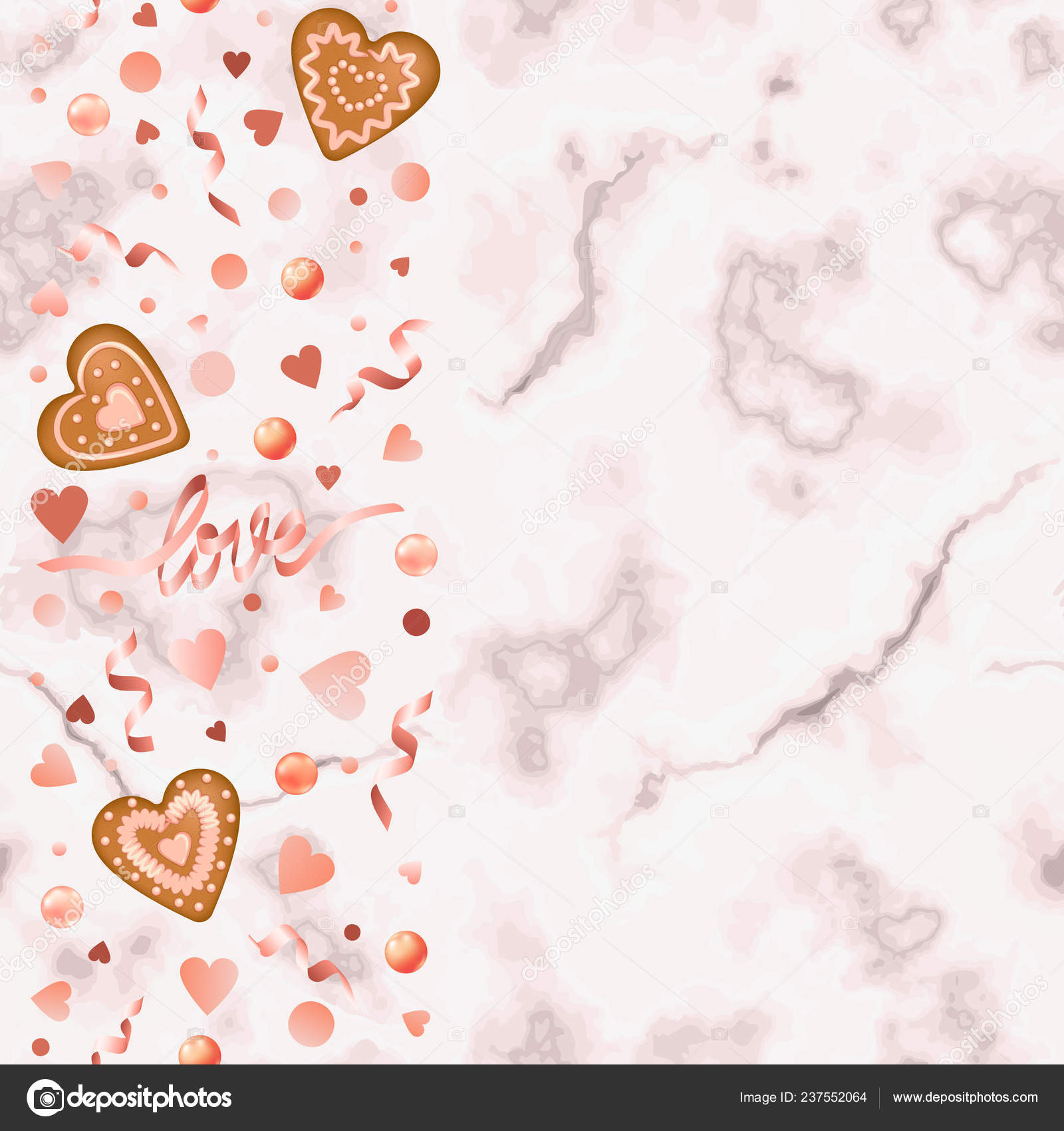 Marble Wallpaper With Hearts Love Hearts Seamless Border Gingerbread Pink Marble Background Repeat Valentines Stock Vector C Kronalux 237552064