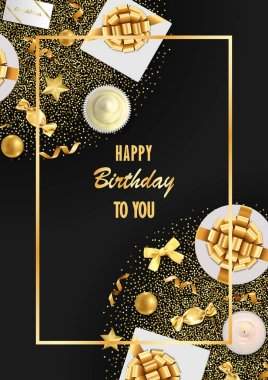 Happy Birthday greeting card with top view gold festive items on black background. Luxury flat lay objects template for greeting, birthday cards, wedding invites, gift voucher, covers with text palce.