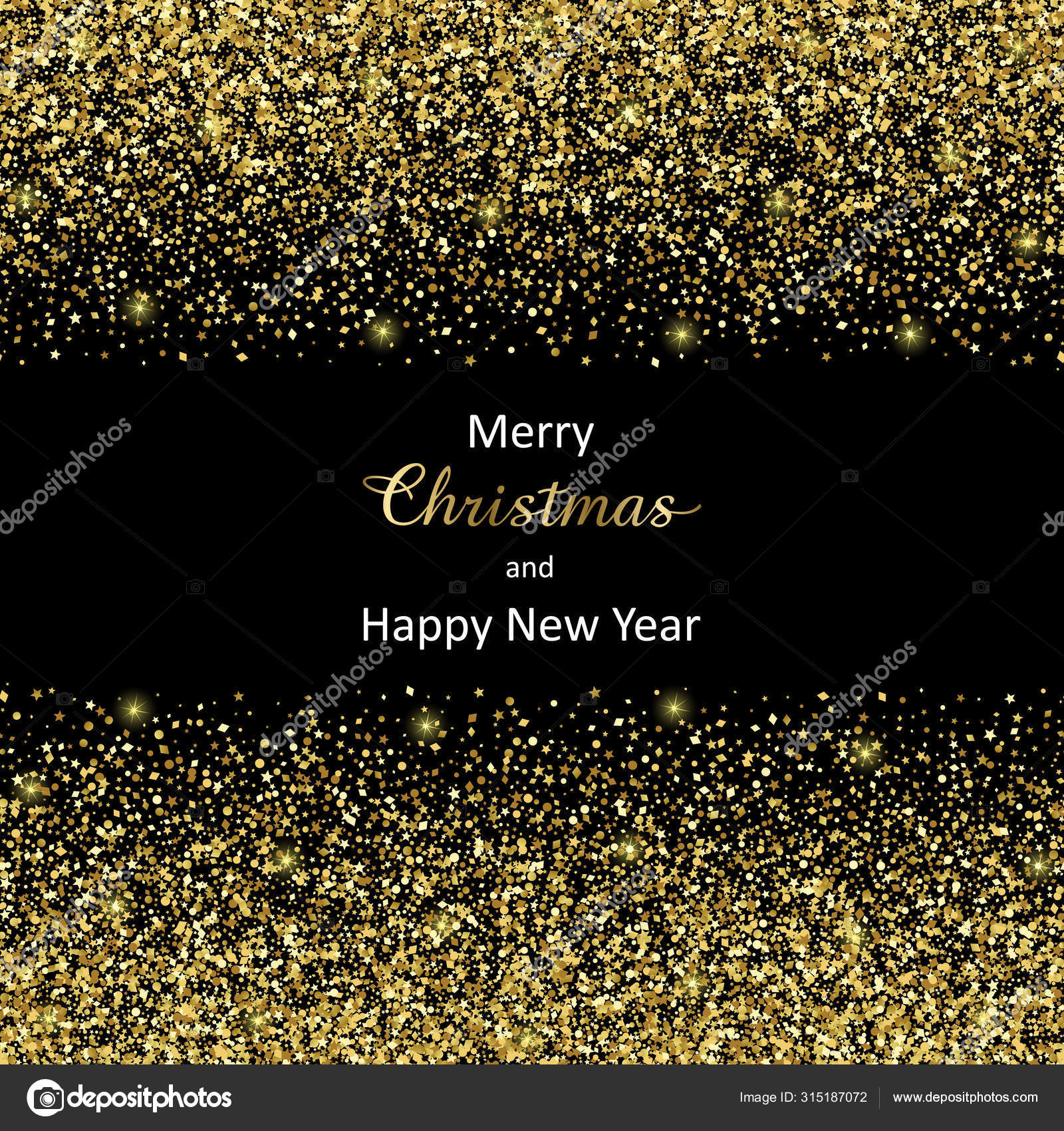 Merry Christmas And Happy New Year 2020 Vector Luxury Greeting Card Stock Vector C Kronalux 315187072