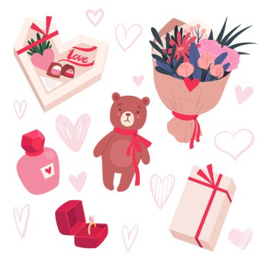 Set of gifts for Valentines Day. Bouquet of flowers, sweets, perfume, toy, ring. Vector illustration icon