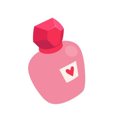 Pink perfume bottle with a heart. Vector illustration. Isolated on white background. icon