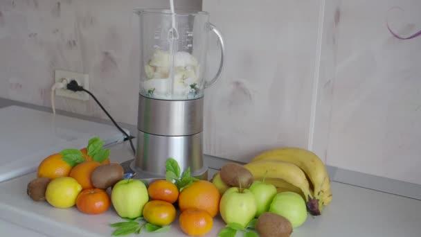 Making a milkshake on the kitchen table