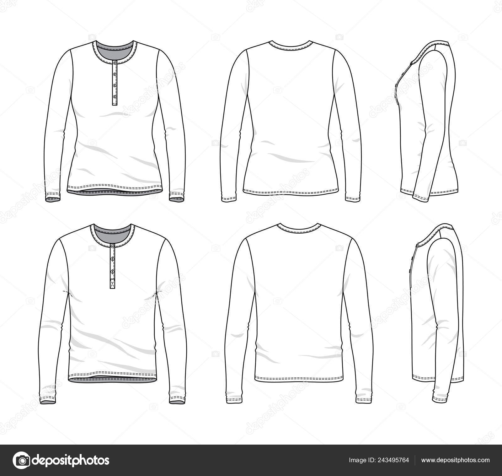Blank Clothing Templates Of Long Sleeved Tee Stock Vector