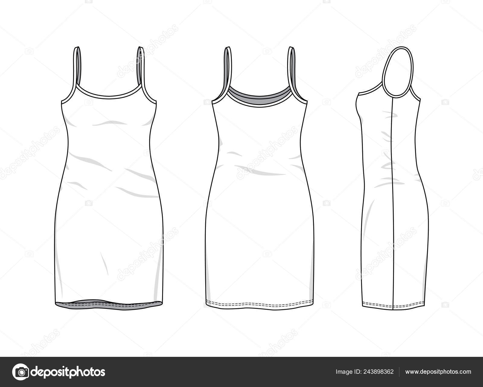 Blank Dress Design Templates Blank Clothing Templates Stock Vector C Aunaauna2012 243898362