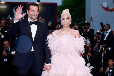 VENICE, ITALY - AUGUST 31: Bradley Cooper and Lady Gaga attend the premiere of the movie 'A Star Is Born' during the 75th Venice Film Festival on August 31, 2018 in Venice, Italy.