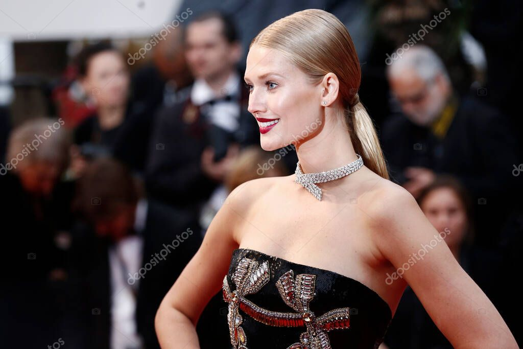 CANNES, FRANCE - MAY 16: Toni Garrn attends the screening of 'Burning' during the 71st Cannes Film Festival on May 16, 2018 in Cannes, France. stock vector