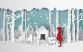 Fotografie winter season with the girl in red coat and the animal in the jungle.Paper art and craft style.