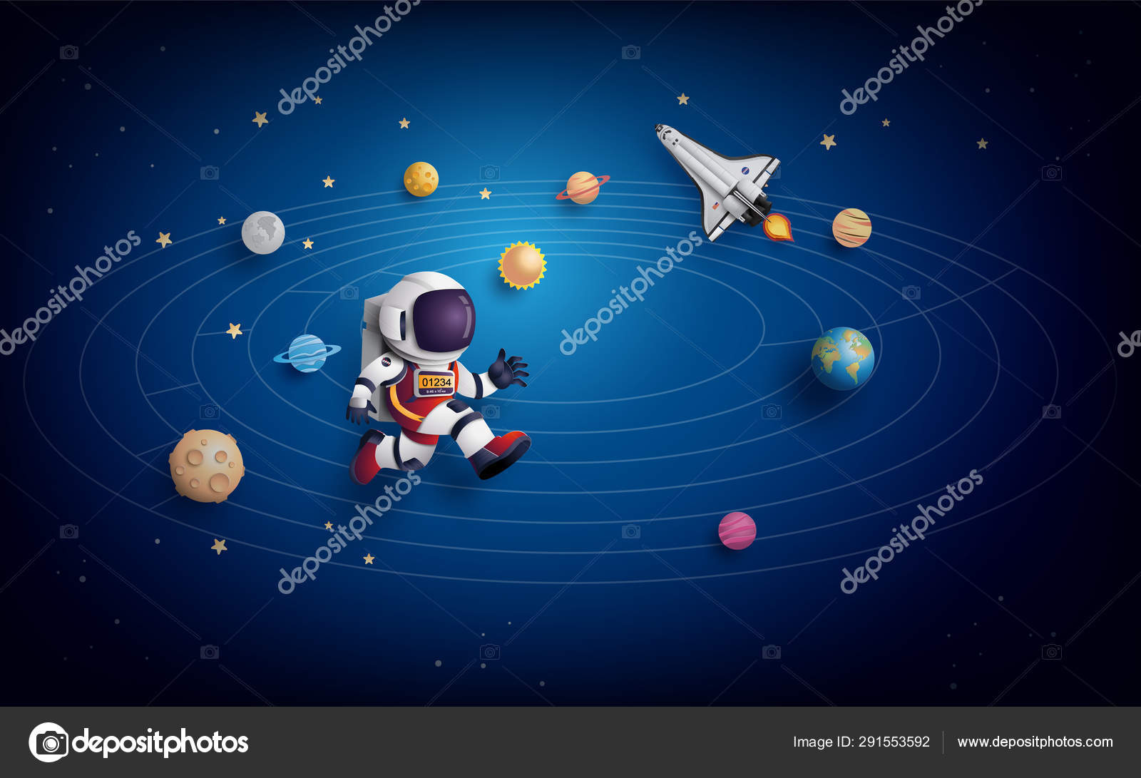 Astronaut Floating In The Stratosphere Stock Vector