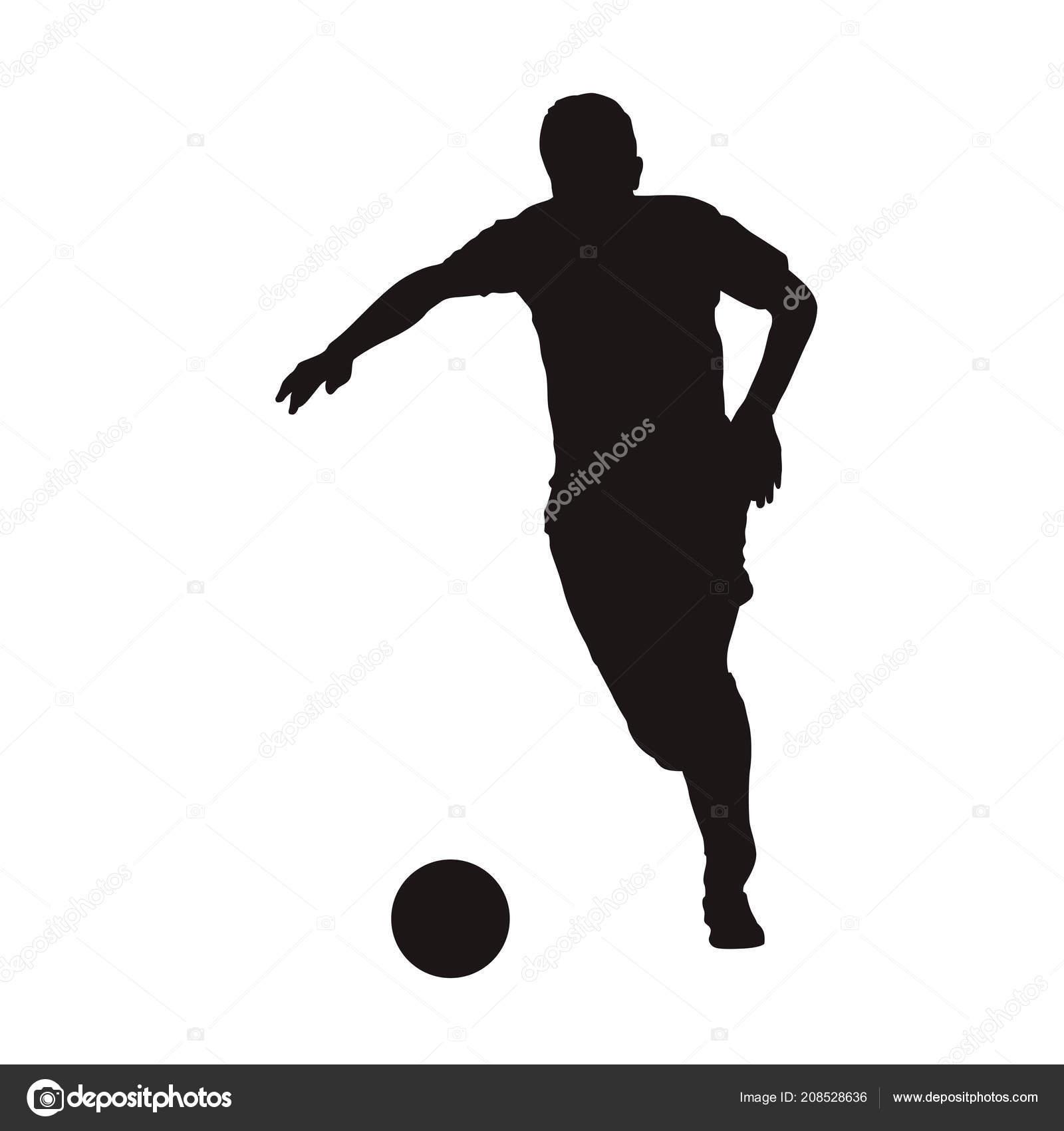 Fussballspieler Mit Ball Vorderansicht Ausgefuhrt Isolierte