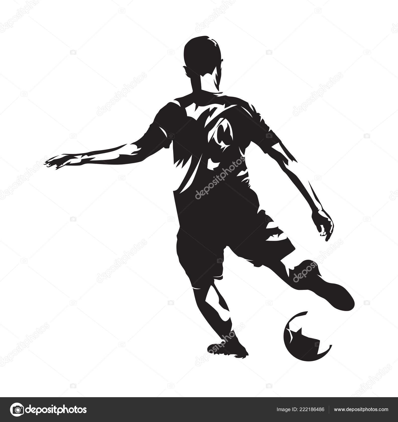 Fussball Spieler Treten Ball Vorderansicht Fussballer