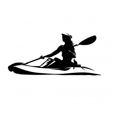 Woman on canoe, isolated vector ink drawing. Abstract vector sil