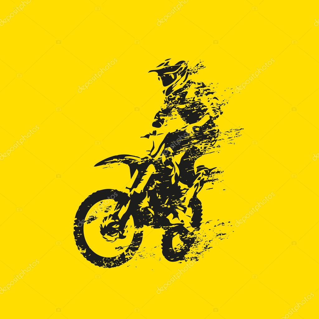 Motocross Rider On His Bike Abstract Grunge Vector Silhouette Premium Vector In Adobe Illustrator Ai Ai Format Encapsulated Postscript Eps Eps Format