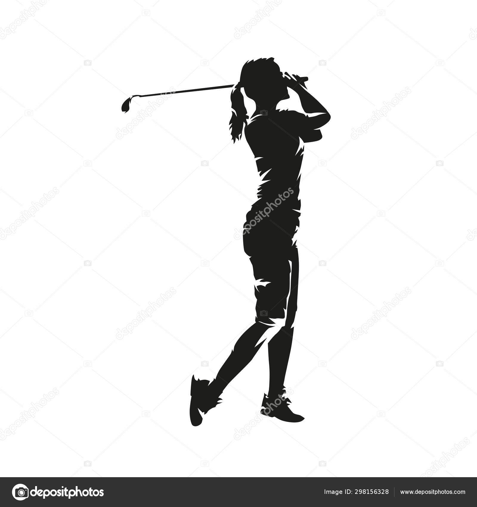 young woman playing golf, isolated vector silhouette. golf swing ⬇ vector  image by © msanca | vector stock 298156328  depositphotos