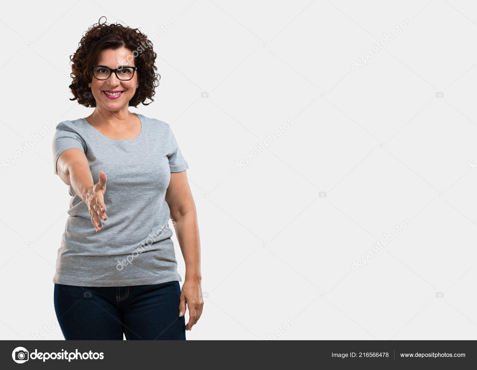 Middle Aged Woman Reaching Out Greet Someone Gesturing Help Happy