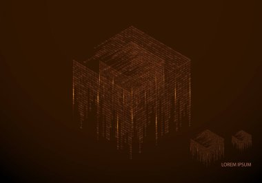 Abstract texture with the encoding symbols of the numbers 1 and 0, placed on the sides of the cube. Digital technology. Modern design element vector. - Vector graphics