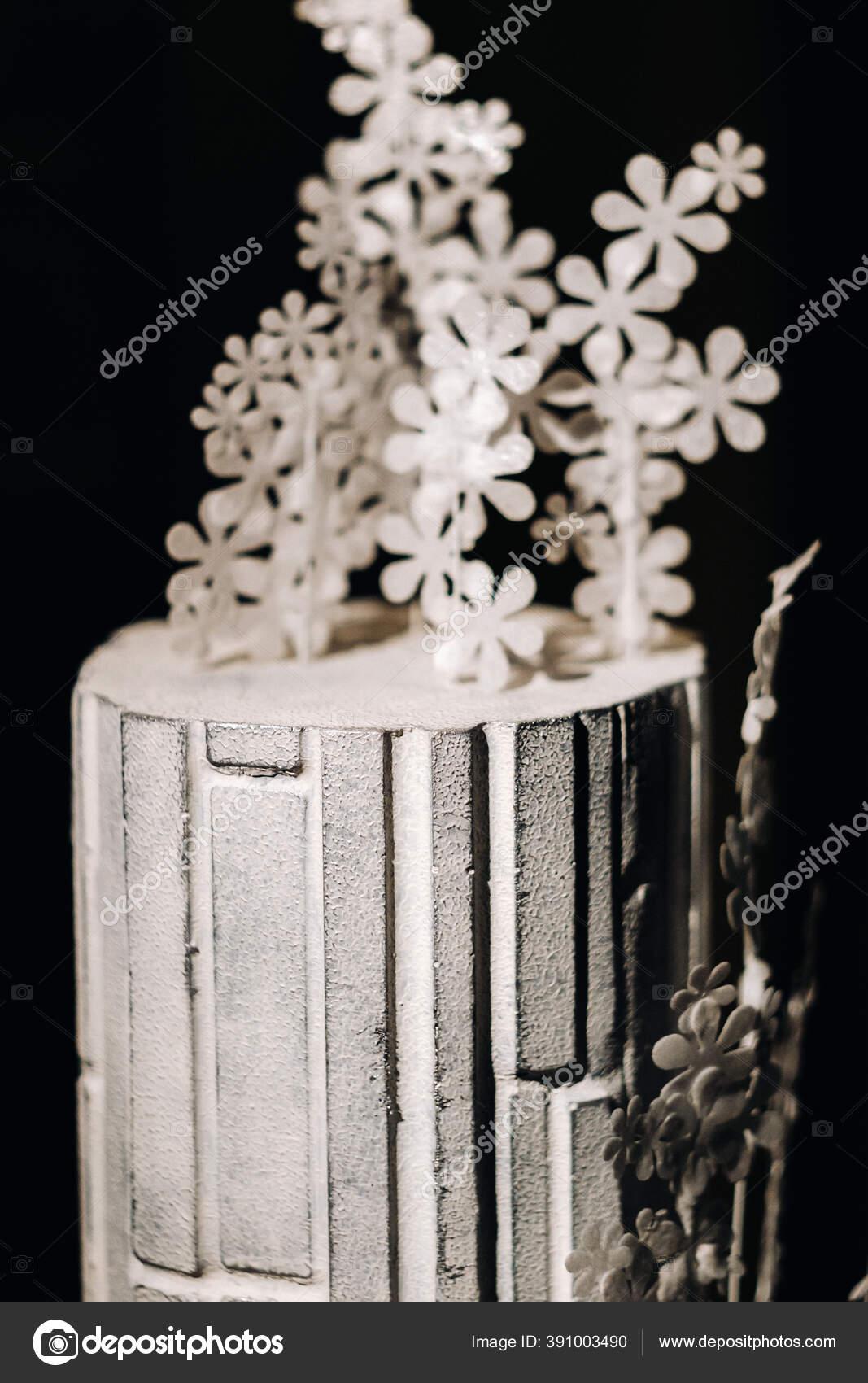 Amazing Cakes Chocolate Wedding Cake White Cake Black Background Large Stok Foto C Lobachad 391003490