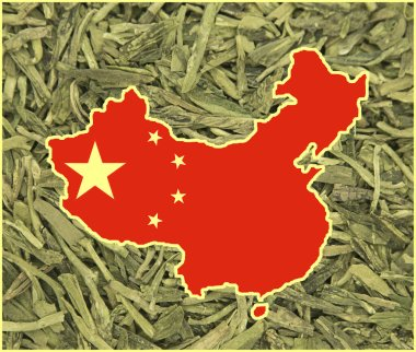 Map of China on a background of white tea from Beijing. Background for greeting cards on holidays. The day of formation of China. The founding day of the Chinese Communist Party.