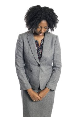 Black African American female businesswoman isolated on a white background looking sad and depressed