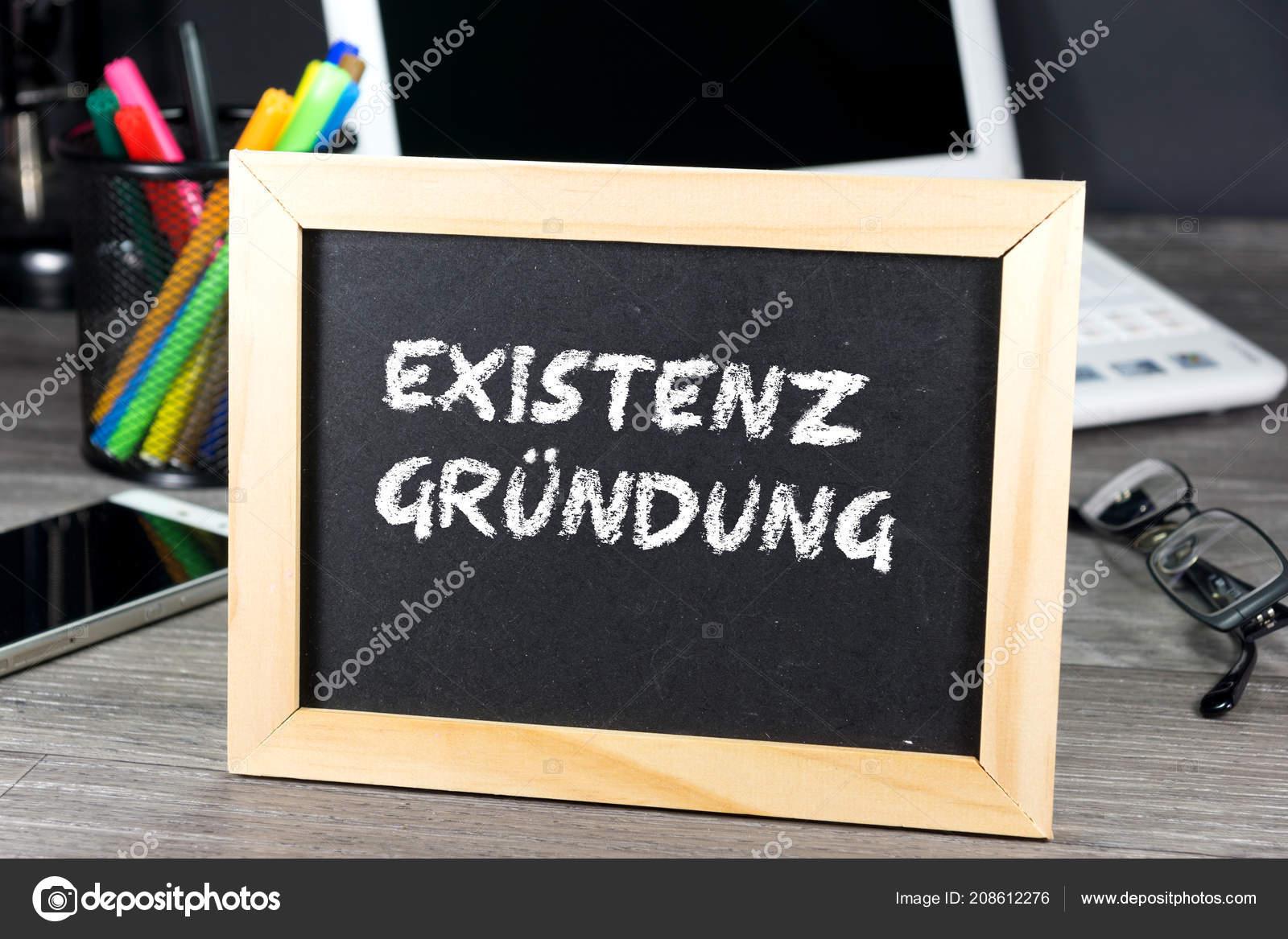 Escritório Uma Placa Giz Com Arranque Negócio Word — Stock Photo
