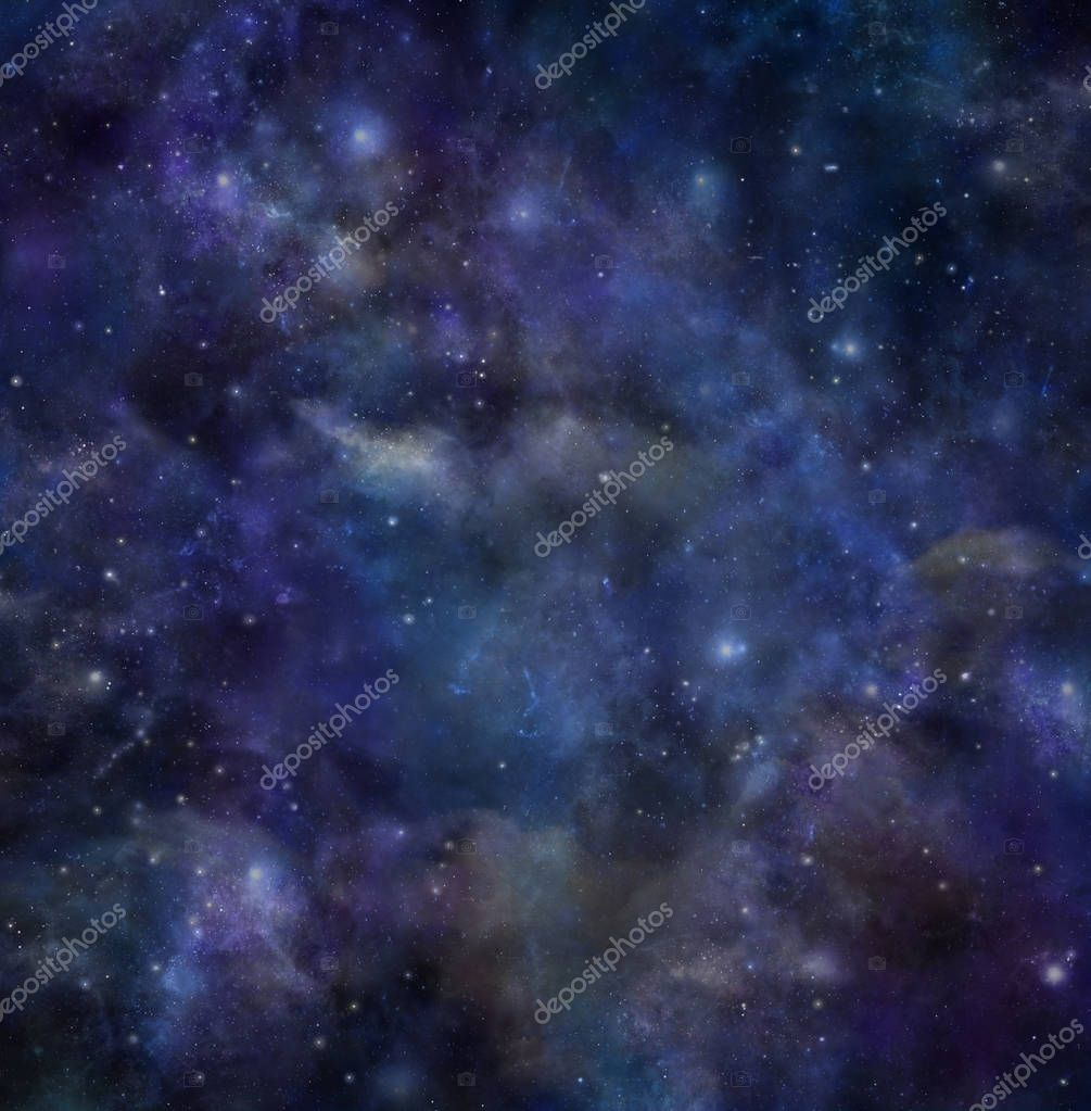 Taurus Formation Night Sky Deep Space background - Dark blue outer space with many different stars, planets and cloud formations