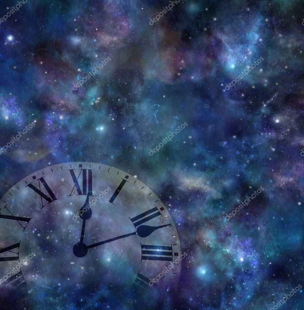 Time and space background - faint clock face merging with dark night sky background with many stars, planets, clouds and colours