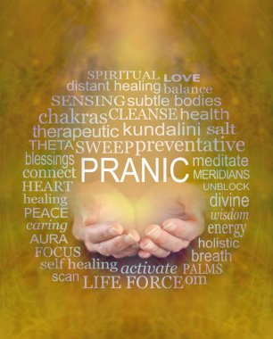 Offering Pranic Healing Word Tag Cloud - female cupped hands with  the word PRANIC above surrounded by a relevant word cloud on a warm mustard yellow ethereal background