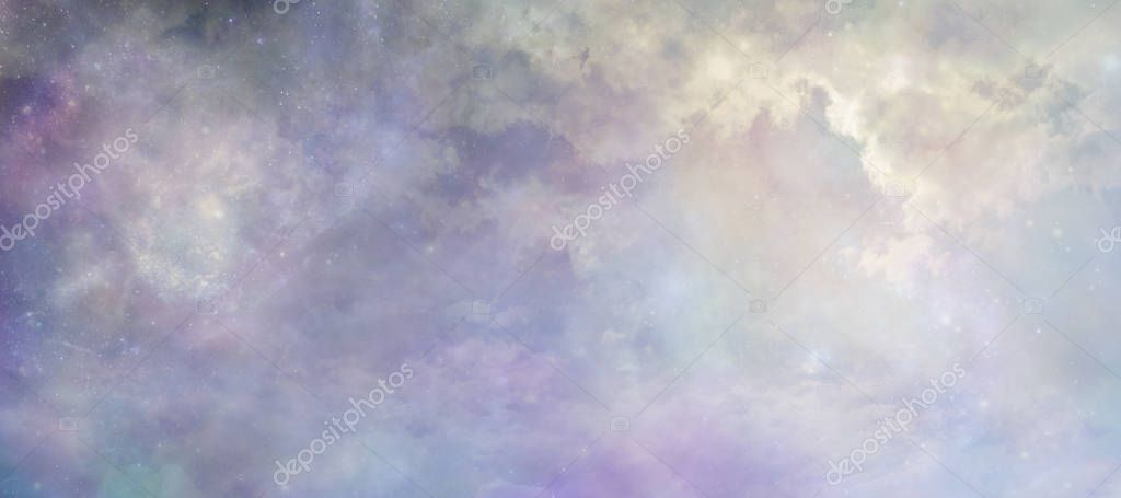 Heavens above concept background banner - beautiful blue lilac light filled heavenly ethereal cloud scape depicting the heavens above