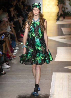 NEW YORK, NY - September 10, 2018: Sara Grace Wallerstedt walks the runway at the Anna Sui Spring Summer 2019 fashion show during New York Fashion Week