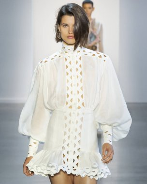 NEW YORK, NY - September 10, 2018: Julia van Os walks the runway at the Zimmermann Spring Summer 2019 fashion show during New York Fashion Week