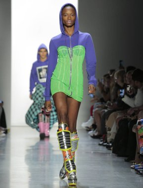 NEW YORK, NY - September 06, 2018: Mayowa Nicholas walks the runway at the Jeremy Scott Spring Summer 2019 fashion show during New York Fashion Week