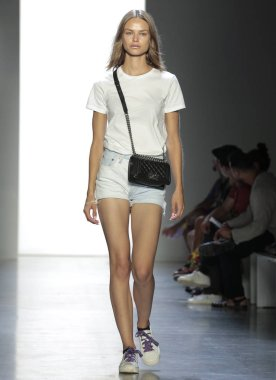 NEW YORK, NY - September 06, 2018: Birgit Kos walks the runway during rehearsal for the Jeremy Scott Spring Summer 2019 fashion show during New York Fashion Week