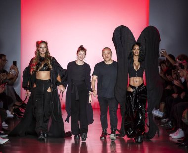 NEW YORK, NY - September 11, 2018: Paris Hilton, Emilia Pfohl, Nan Li and Teyana Taylor walks the runway at the Namilia Spring Summer 2019 fashion show during New York Fashion Week