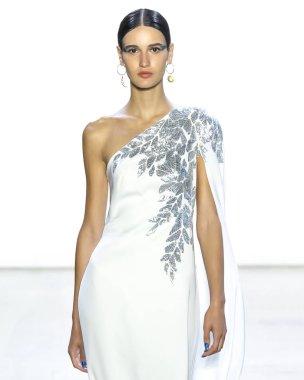 NEW YORK, NY - September 06, 2018: Tatia Akhalaia walks the runway at the Tadashi Shoji Spring Summer 2019 fashion show during New York Fashion Week