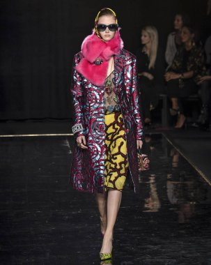 NEW YORK, NY - December 02, 2018: Sara Grace Wallerstedt walks the runway at the Versace Pre-Fall 2019 Runway Show
